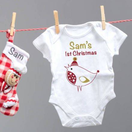 Personalised 'My First Christmas' Robin White Baby Grow